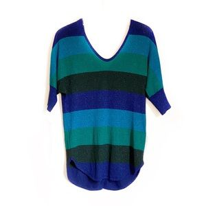 Express Blue and Green Button Back Striped Sweater